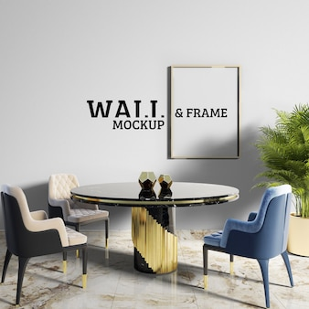 Wall and frame mockup - dining room with neoclassical style