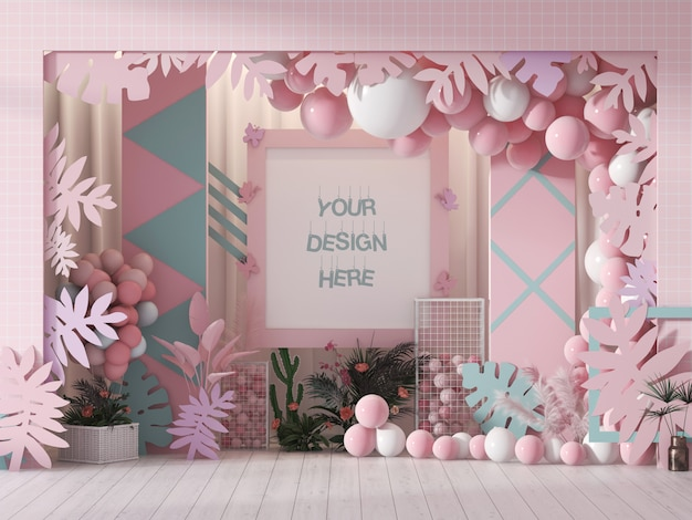 Wall frame mockup for festival decorated with pink and white color balloons