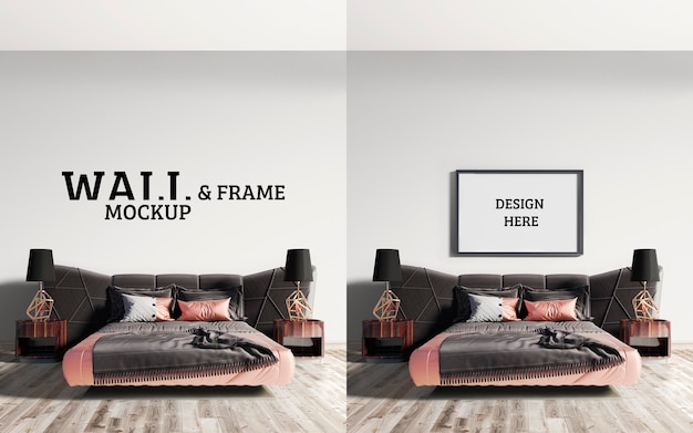 Wall and frame mockup impressive bed with a combination of brown and pink orange