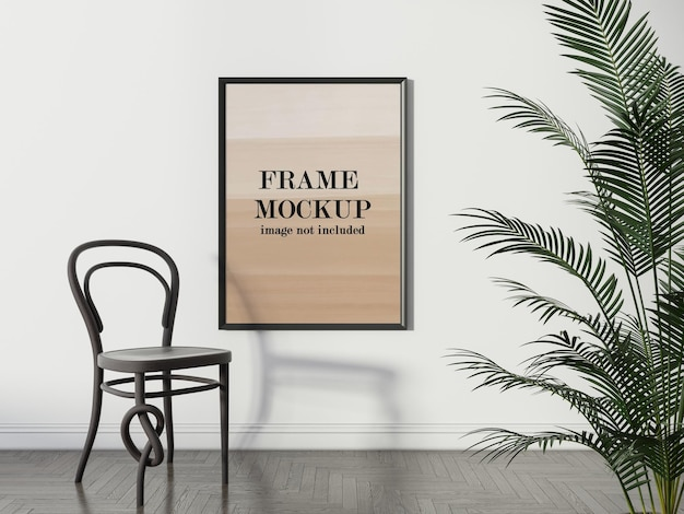 Wall frame mockup in interior with art chair and plant