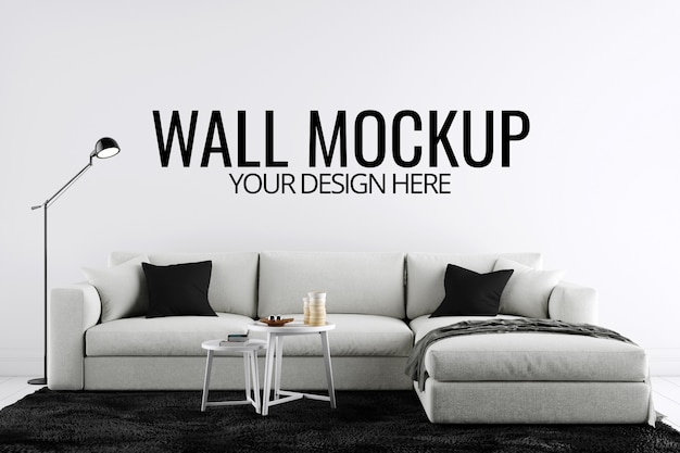 Wall & frame mockup interior with decoration