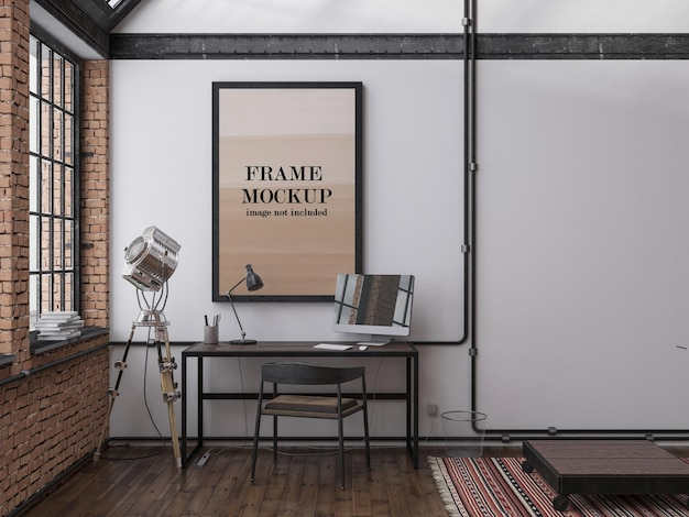Wall frame mockup in loft interior