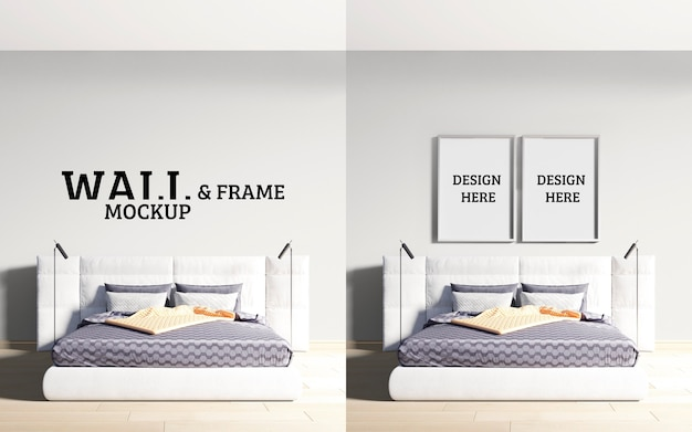 Wall and frame mockup luxurious modern style bedroom
