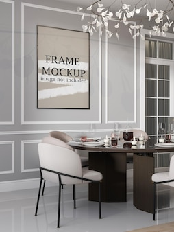 Wall frame mockup in luxury interior