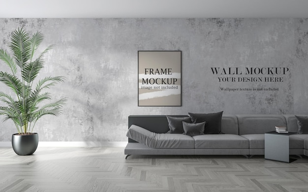 Wall and frame mockup in modern living room