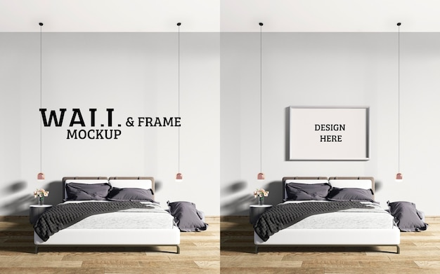 Wall and frame mockup modern style bedroom