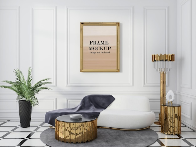 Wall frame mockup in neo classic interior Premium Psd
