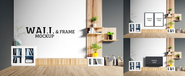 Wall and frame mockup - the room has wooden furniture