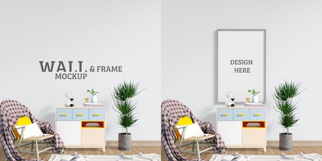 Wall and frame mockup. sitting space to relax and read