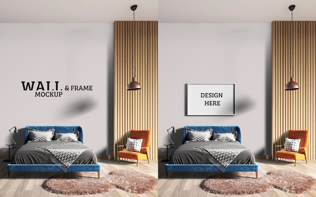Wall and frame mockup a stylish bedroom with a blue bed and orange chairs