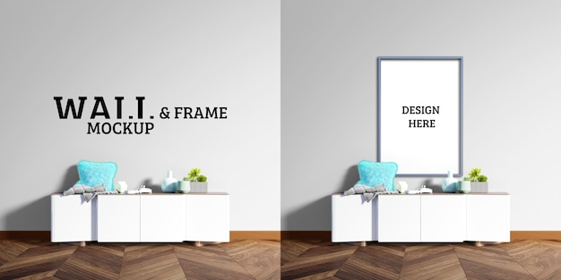 Wall and frame mockup - white decoration cabinet