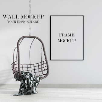 Wall and frame mockup with swing chair in interior