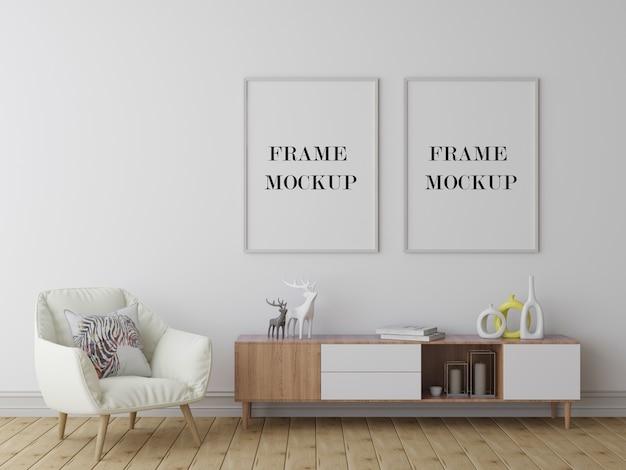 Wall frames empty background 3d rendering mockup
