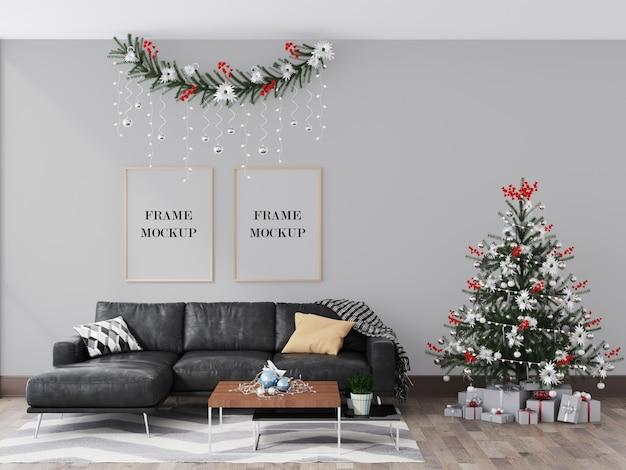 クリスマスと冬の装飾が施されたインテリアの壁フレームモックアップ