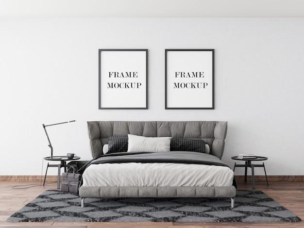 モダンなベッドルームの壁フレームモックアップ