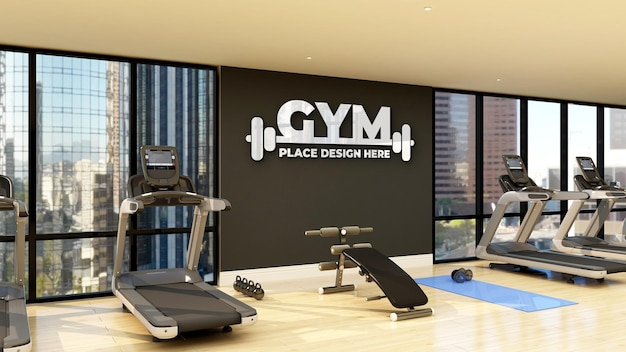Wall gym logo mockup in the modern fitness gym room