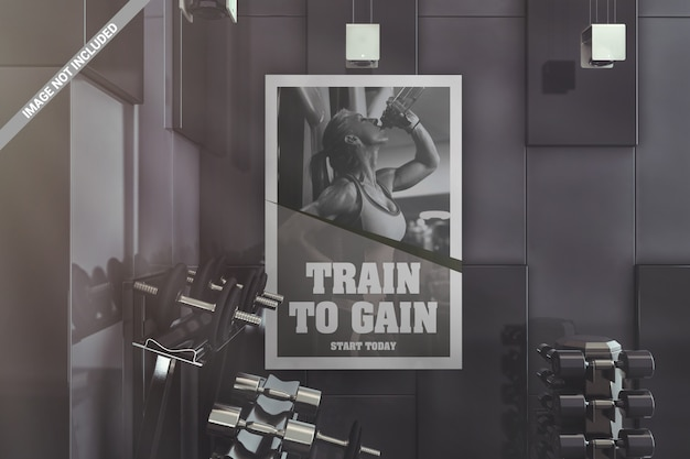 Wall interior gym poster mockup