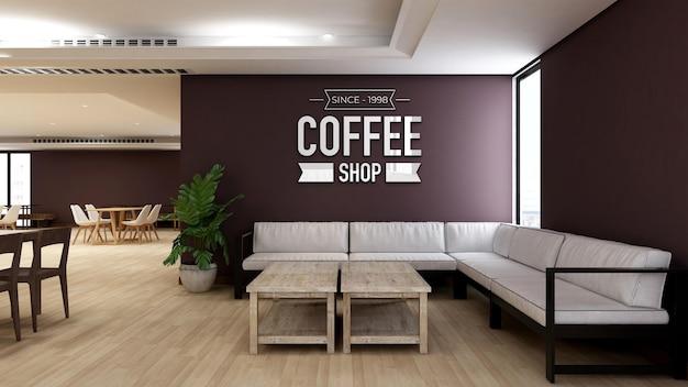 Wall logo mockup in coffee shop or restaurant