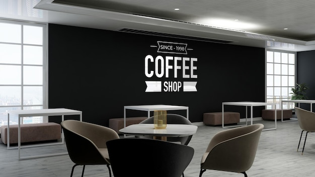 Wall logo mockup in the coffee shop with wooden table and chair