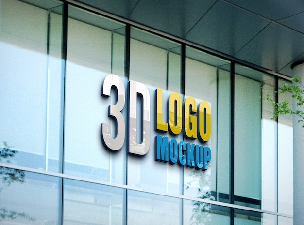 壁のロゴのモックアップ、無料のオフィスガラス壁サインロゴモックアップ、フロントオフィスのガラスの壁ロゴモックアップ