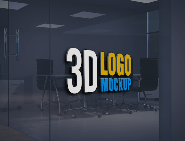 Wall logo mockup, free office glass wall sign logo mockup, office glass room logo mockup