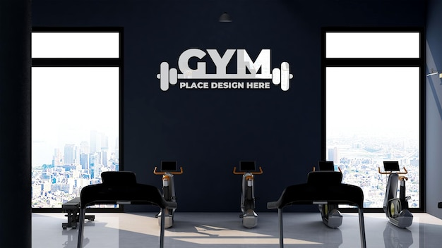 Wall logo mockup in gym or sport room