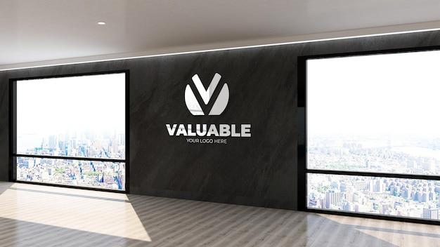 높은 건물 실내 디자인의 벽 로고 모형