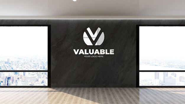 Макет логотипа стены в интерьере высокого здания