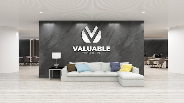 Макет логотипа стены в роскошном офисе с каменной стеной