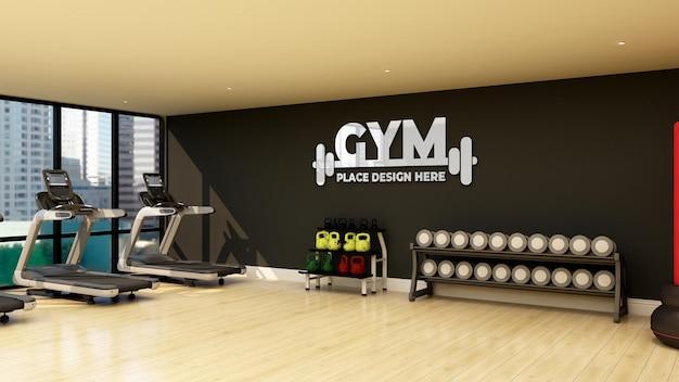 현대적인 피트니스 및 헬스 클럽의 벽 로고 모형