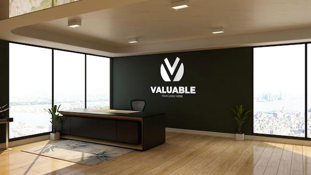 オフィスのフロントデスクのテーブルの壁のロゴのモックアップ