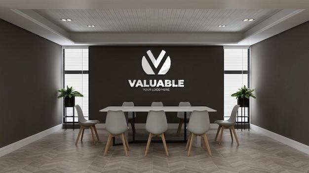 Настенный макет логотипа в офисе, конференц-зале с минималистичным дизайном интерьера