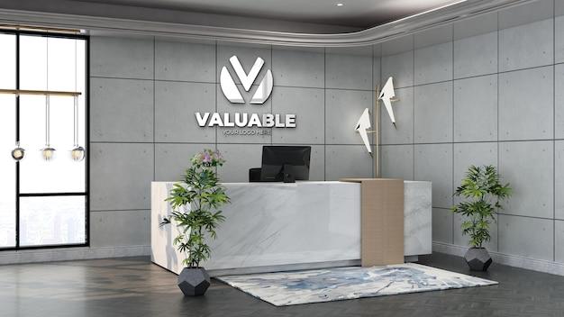 흰색 산업 디자인 인테리어가 있는 사무실 접수원 또는 프런트 데스크의 벽 로고 모형