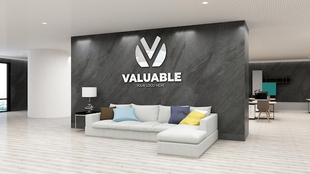 Wall logo mockup in luxury office with stone wall