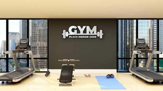 Wall logo mockup in modern fitness and gym room