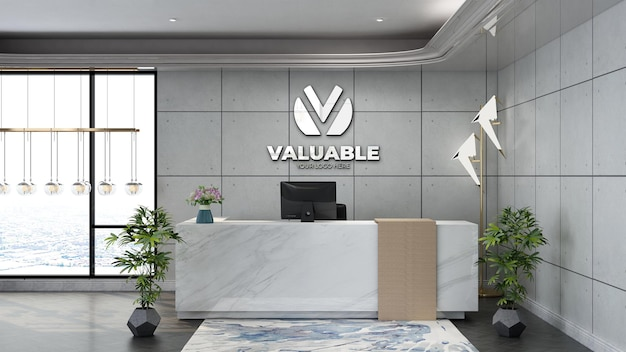 Wall logo mockup in the office receptionist or front desk with white industrial design interior