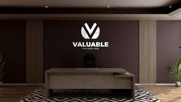 Wall logo mockup in the office receptionist or front desk