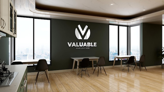 Wall logo mockup in pantry office room
