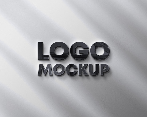 Wall logo mockup with shadow