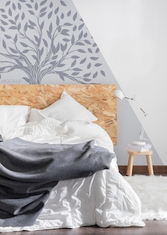 Mock-up a parete nella disposizione della camera da letto