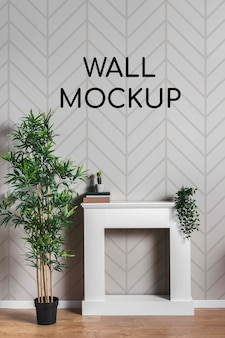 Wall mock-up with squared desk