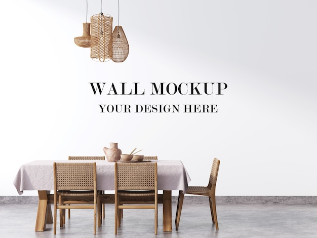 Wall mock up with wicker rattan furniture in living room