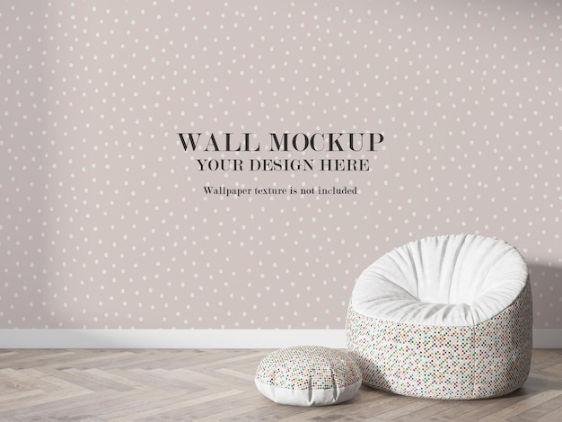 Wall mockup in 3d rendering behind puff chair