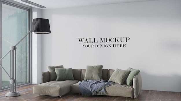 Wall mockup in 3d rendering scene