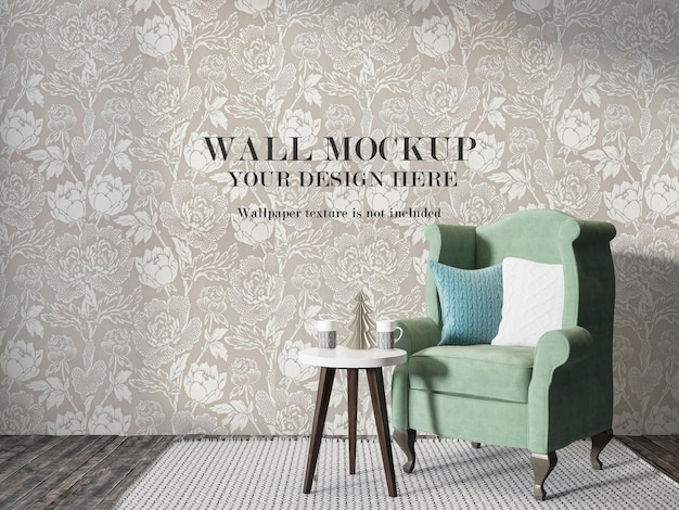 Wall mockup in 3d rendering behind traditional english chair