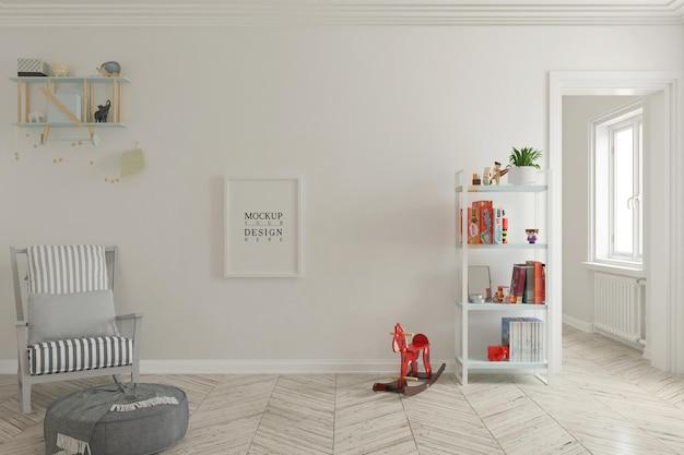 Макет стены и макет рамки плаката в милой детской комнате