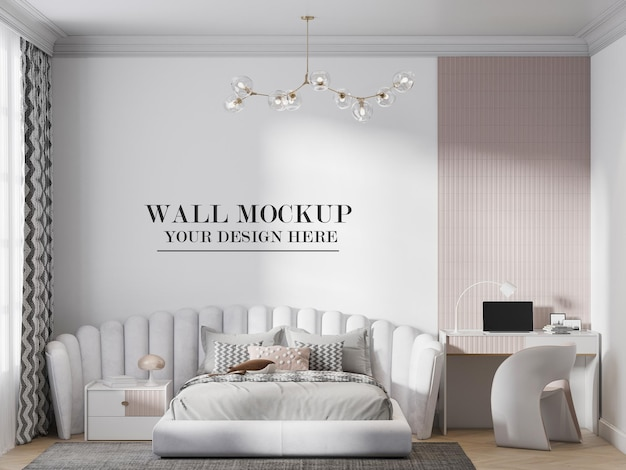 Wall mockup behind awesome headboard bed