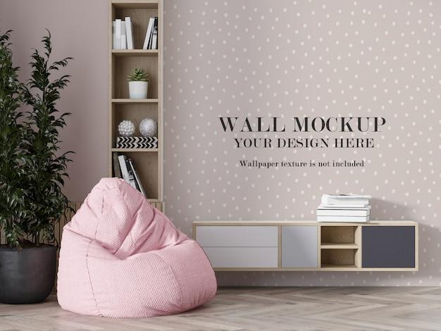 Wall mockup behind bean bag and furniture