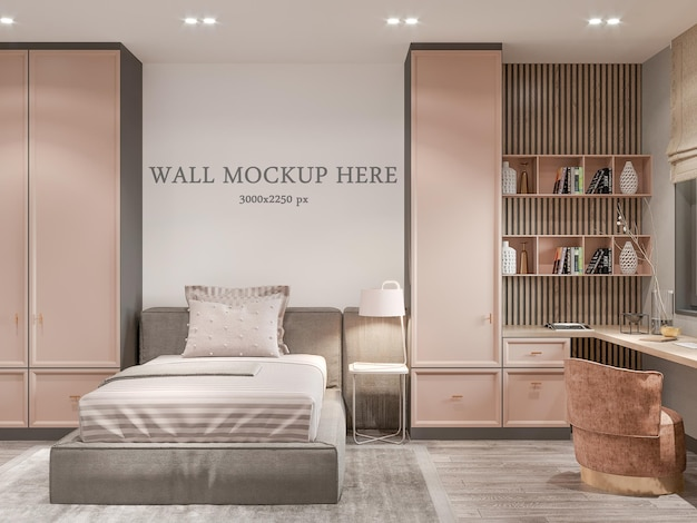 Wall mockup behind a bed in a teenage girls bedroom in a neoclassical room Premium Psd