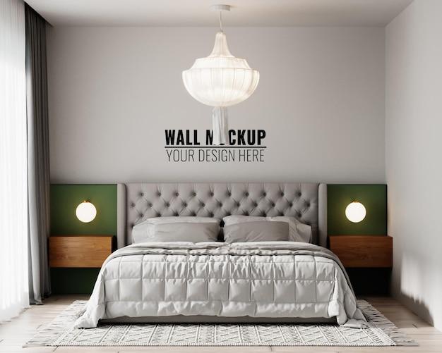 Wall mockup in bedroom interior